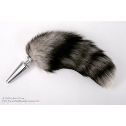 High Grade Steel Plug with fur tail, white tipped grey