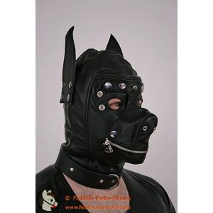 Hundemaske Leder mit Knebel und Augenklappe