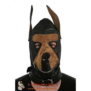 Hundemaske Leder zweifarbig