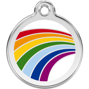 Dog Tag Round with Rainbow