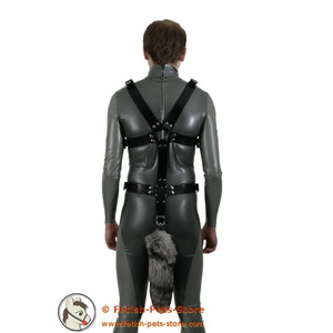 Doggy Harness with Fur Tail