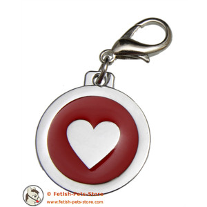 Collar Tag Heart Red