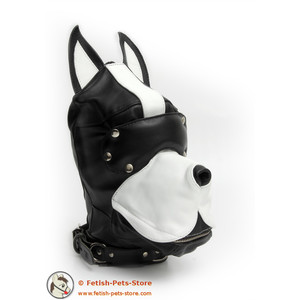 Lederhundemaske schwarz/weiß