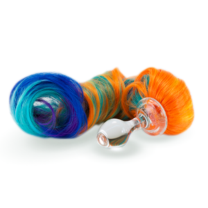 edler Ponyschweif 5-farbig mit abnehmbarem Glasplug
