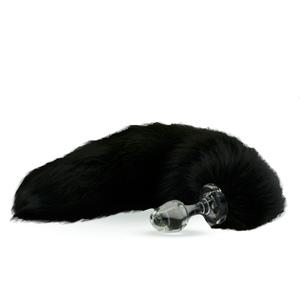 Fellschwanz schwarz mit Glas-Plug
