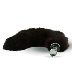 Fellschwanz dunkelbraun mit Glas-Plug