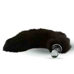 Fur Tail Brown with Glass Plug