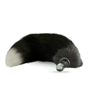 Fellschwanz schwarz mit weißer Spitze mit Glas-Plug
