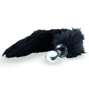 Kunstfell Schwanz schwarz mit Glasplug