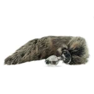 Faux Fur Tail Grey with Glass Plug