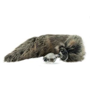 Kunstfell Schwanz grau mit Glasplug