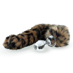 Kunstfell Schwanz Leopard mit Glasplug