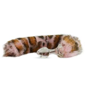 Kunstfell Schwanz Pink Snow Leopard mit Glasplug