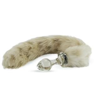 Kunstfell Schwanz Schneeleopard mit Glasplug