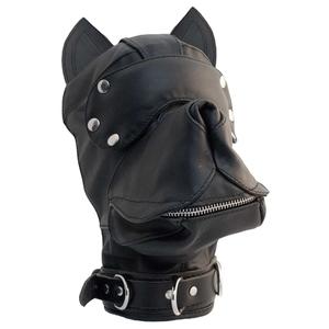 Lederhundemaske schwarz