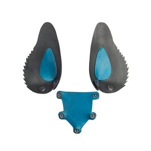 Gummi Hunde Maske Zunge und Ohren Metallic Blue