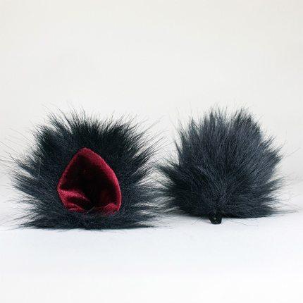 Ohren schwarz/rot