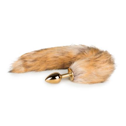Analplug gold mit Fuchsschwanz