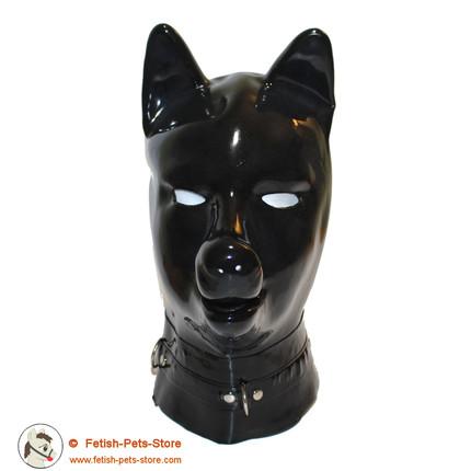 Latexmaske Hund mit Halsband