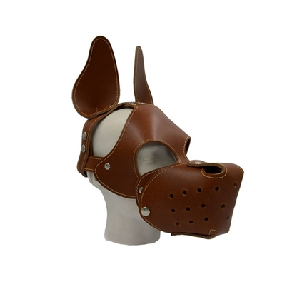 Leather Dog Hood Brown with Removable Muzzle