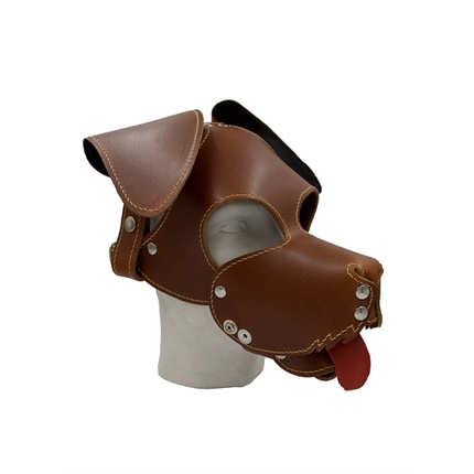 Leather Dog Hood Brown with Floppy Ears and Muzzle