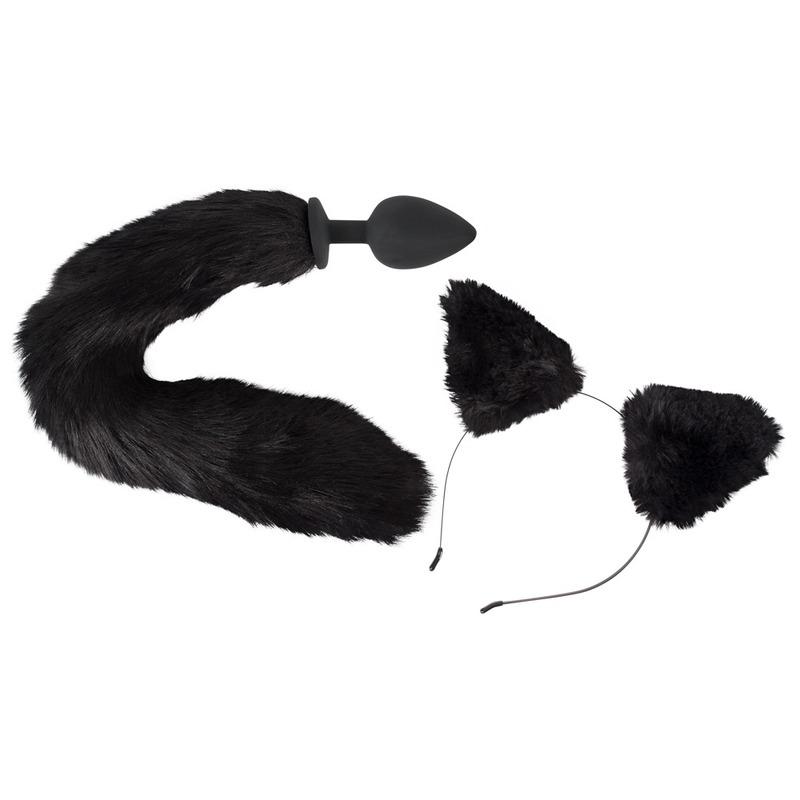 Katzenohren am Haarreif und flauschiger Schwanz mit Analplug