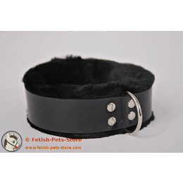 Narrow Rubber Collar with Fur