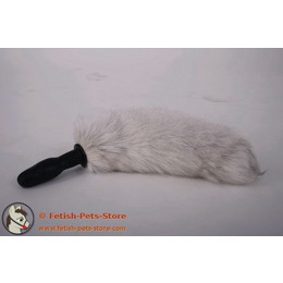 Kleiner Plug mit Fellschwanz, wild weiß