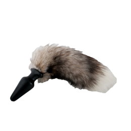 Plug with fur tail, color brown-grey