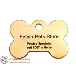 Dog Tag Bone Brass 38 mm