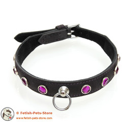 Leather Rhinestone Collar