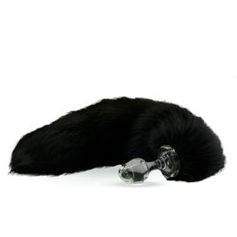 Fur Tail Black with Glass Plug