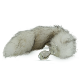 Faux Fur Tail Husky Grey with Glass Plug