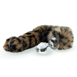 Faux Fur Tail Leopard with Glass Plug
