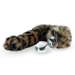 Faux Fur Tail Leopard with Glass Plug
