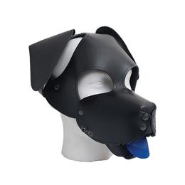 Leder Hundemaske mit Schlappohren und Maulkorb