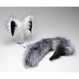 Ohren und Schwanz Set grau