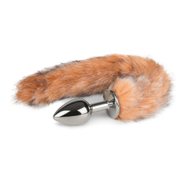 Anal Plug silver with Fox Tail XS-XL