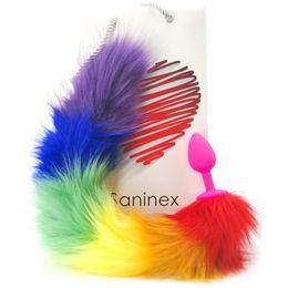 Regenbogen Schwanz mit Silikonplug