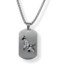 Dog Tag Puppy - Silver Brushed